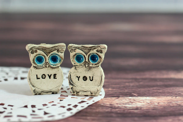 Love you owls Wedding cake topper