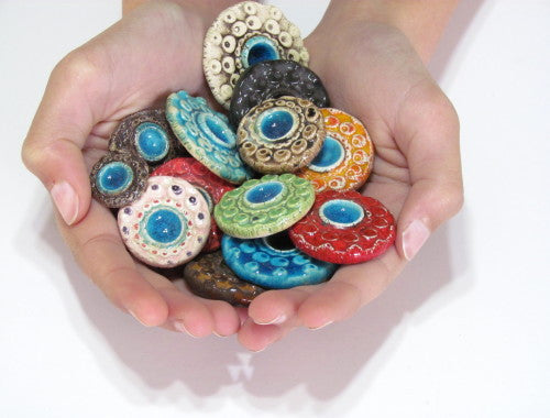 Colorful ceramic cabochons