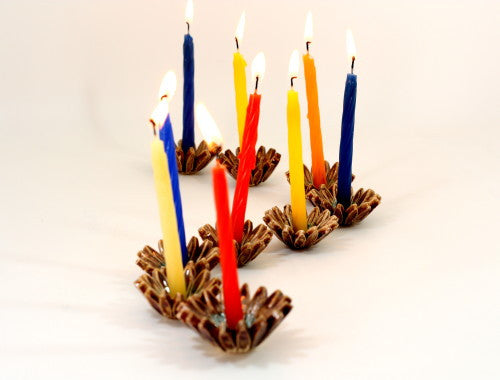 Ceramic Hanukkah Menorah with brown and turquoise flowers