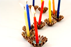 Ceramic Hanukkah Menorah with brown and turquoise flowers - Ceramics By Orly  - 4