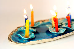 Ceramic Hanukkah Menorah- Lacy turquoise flowers with aqua platter - Ceramics By Orly  - 3