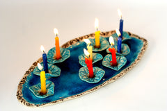 Ceramic Hanukkah Menorah- Lacy turquoise flowers with aqua platter - Ceramics By Orly  - 2