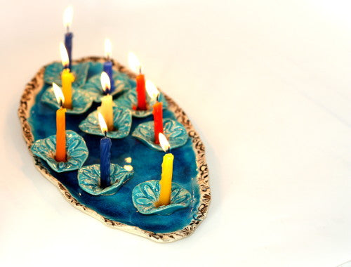 Ceramic Hanukkah Menorah- Lacy turquoise flowers with aqua platter