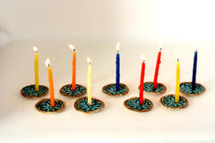 Ceramic Hanukkah Menorah with vintage lace pattern in brown and turquoise - Ceramics By Orly  - 5