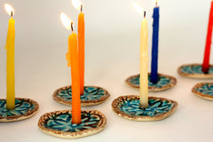 Ceramic Hanukkah Menorah with vintage lace pattern in brown and turquoise - Ceramics By Orly  - 4