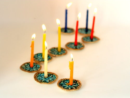 Ceramic Hanukkah Menorah with vintage lace pattern in brown and turquoise