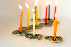Ceramic Hanukkah Menorah with vintage lace pattern in brown and turquoise - Ceramics By Orly  - 2