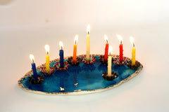 Flowers ceramic Hanukkah Menorah in a color of your choice - Ceramics By Orly  - 3