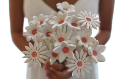White Bridal bouquet, Wedding bouquet Shabby chic wedding Wedding flowers - Ceramics By Orly  - 2