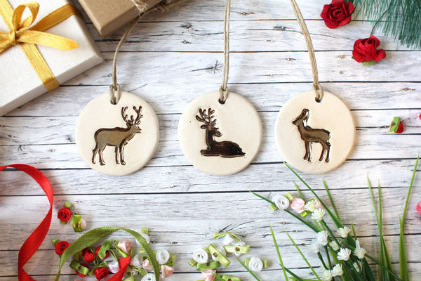 Deer ornament Christmas ornament Gold ornaments Woodland ornament Deer gift Christmas tree decor