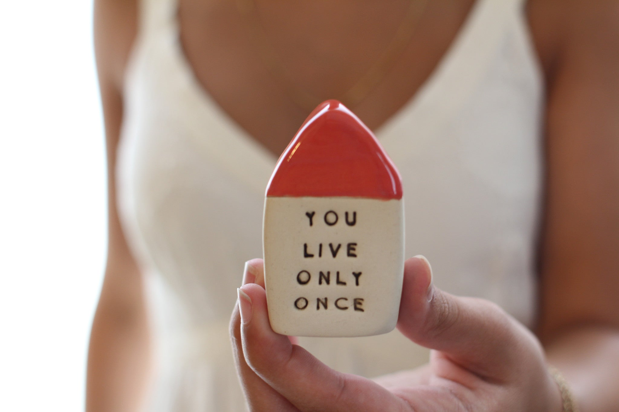 Inspirational quote Motivational quotes Personal gift Miniature house You only live once - Ceramics By Orly  - 1