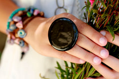 Black ring Fashion jewelry Boho jewelry - Ceramics By Orly  - 3