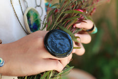 Black ring Fashion jewelry Boho jewelry - Ceramics By Orly  - 4