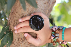 Black ring Fashion jewelry Boho jewelry - Ceramics By Orly  - 2