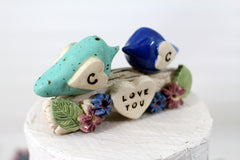 Personalized bird cake topper