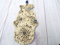 One of a kind ceramic Hamsa decoration - Ceramics By Orly  - 2