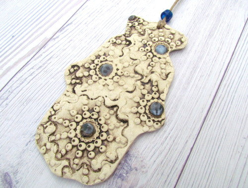 One of a kind ceramic Hamsa decoration