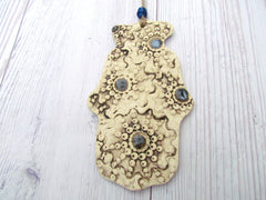One of a kind ceramic Hamsa decoration - Ceramics By Orly  - 3