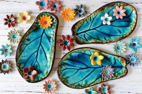 Ceramic Leaves Home decor Soap dish Jewelry holder Ceramic platter