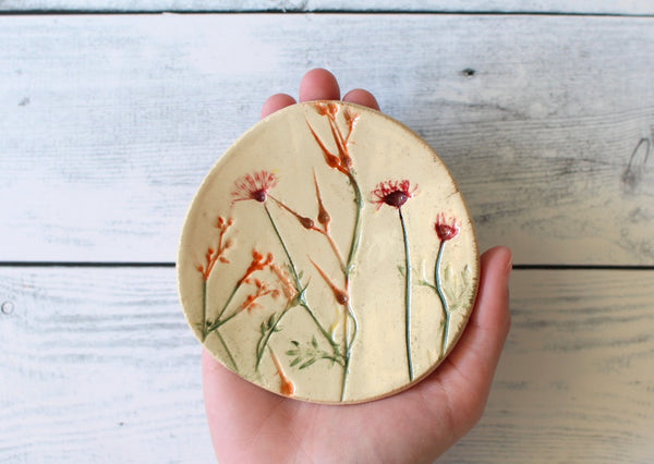Handmade ceramic botanical bowl