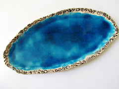 Turquoise ceramic platter - Ceramics By Orly  - 2