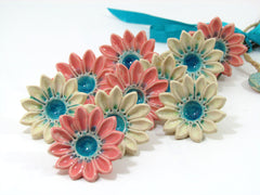 Bridal bouquet in pink, cream and turquoise - Ceramics By Orly  - 2