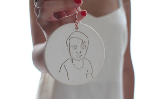 Custom portrait ornament Line art sketch