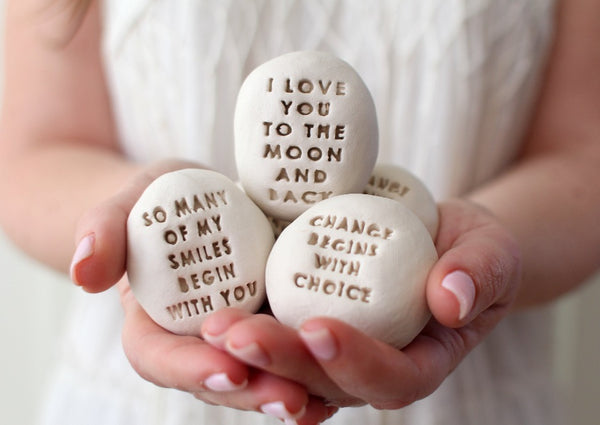 Stone gifts Motivational gift Ceramic pebbles