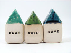 HOME SWEET HOME set of rustic ceramic houses in colors of your choice - Ceramics By Orly  - 2