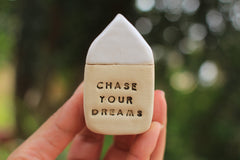 Miniature house Motivational quotes Inspirational quote Never give up - Ceramics By Orly  - 2