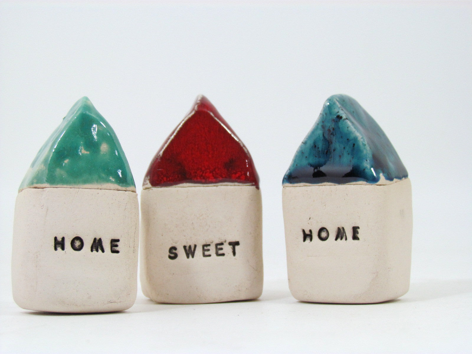 HOME SWEET HOME set of rustic ceramic houses in colors of your choice - Ceramics By Orly  - 1