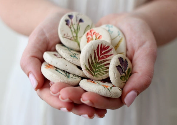 Bring nature home Botanical decor Ceramic cabochons Pressed flower cabochons