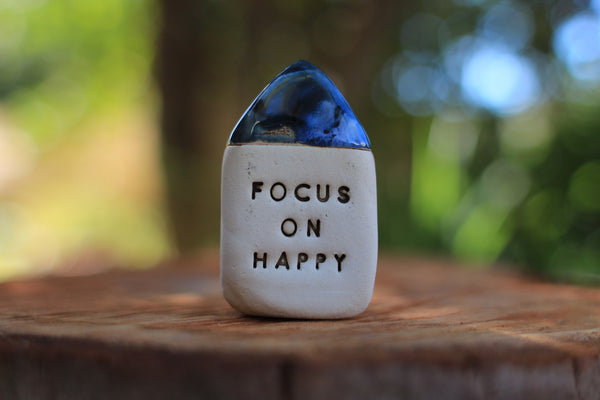 Inspirational quote Motivational quotes Personal gift Miniature house Focus on happy