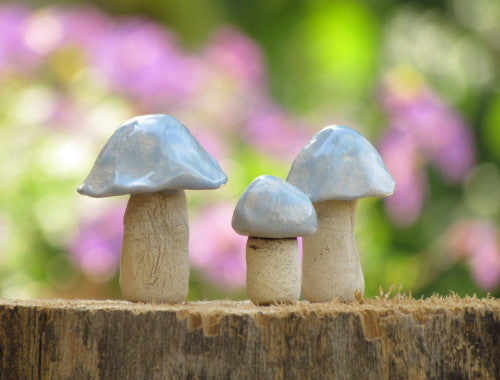 Ceramic pastel colors miniature mushrooms in variety of sizes and shapes