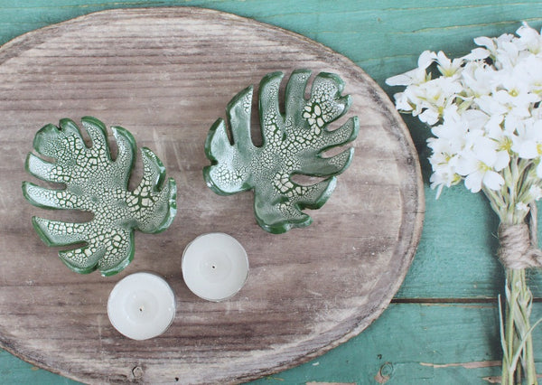 Monstera leaves candle holders Tropical leaves Ceramic Home decor Jungle decor