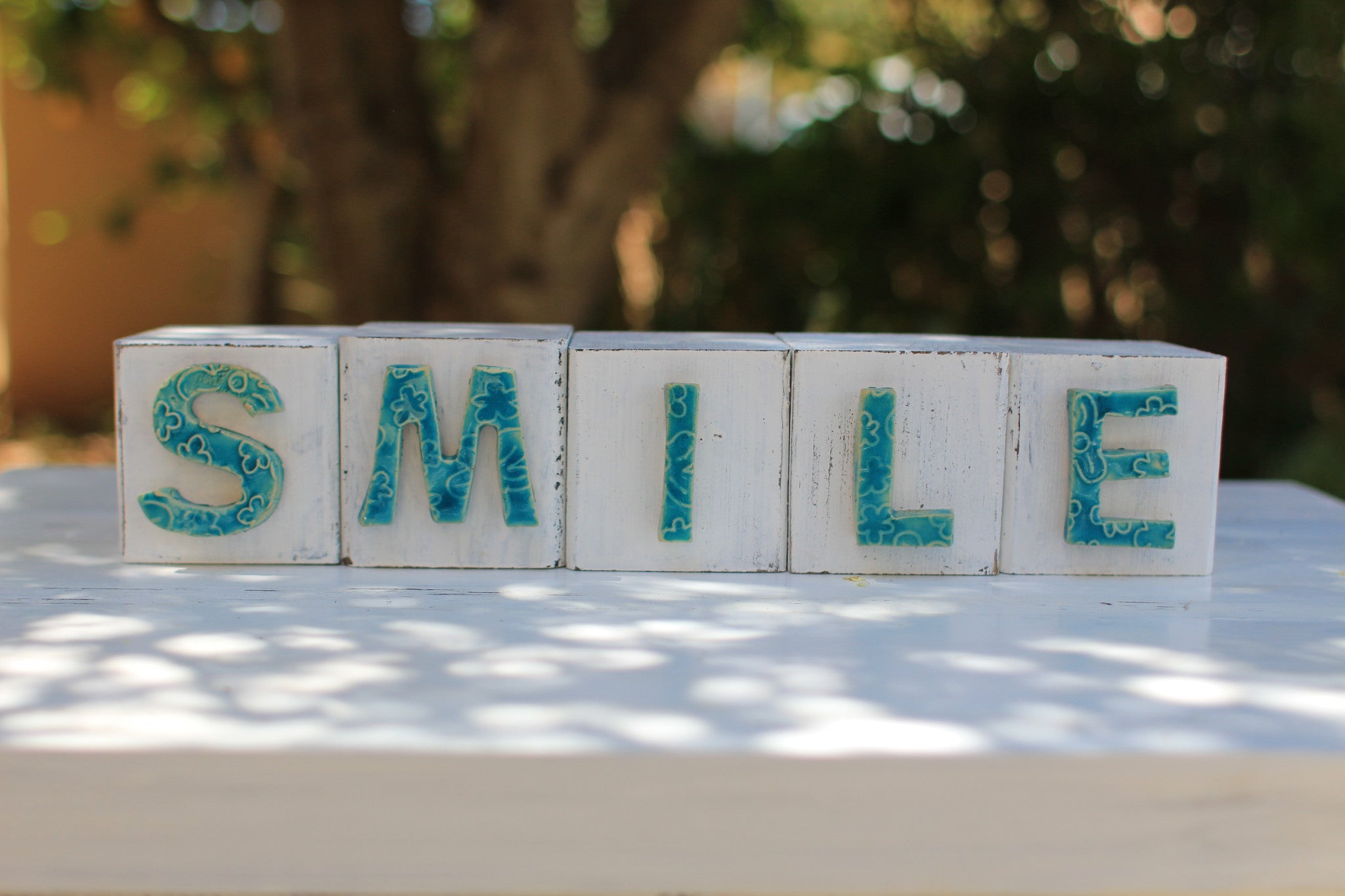 Handmade wooden letter blocks Motivational gift SMILE wooden blocks - Ceramics By Orly  - 1