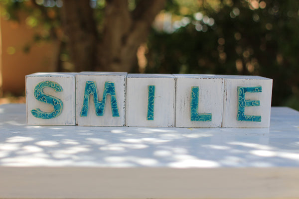 Handmade wooden letter blocks Motivational gift SMILE wooden blocks