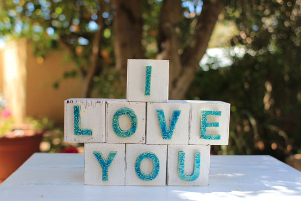 Handmade wooden letter blocks I love you wooden blocks