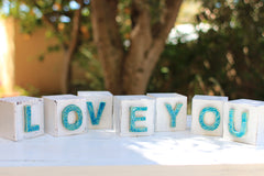Handmade wooden letter blocks I love you wooden blocks - Ceramics By Orly  - 2