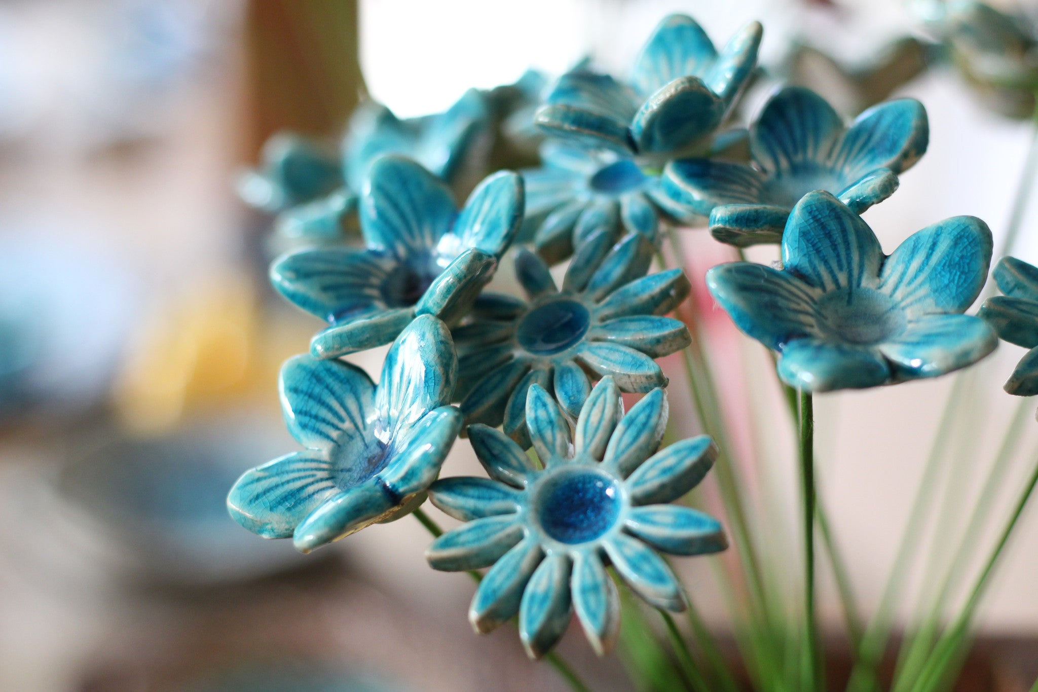 Aqua turquoise flowers bouquet – Ceramics By Orly