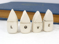 A set of tiny rustic ceramic miniature LOVE houses in colors of your choice - Ceramics By Orly  - 2