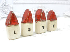 A set of tiny rustic ceramic miniature LOVE houses in colors of your choice - Ceramics By Orly  - 5