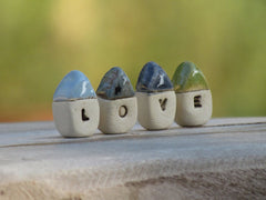 A set of tiny rustic ceramic miniature LOVE houses in colors of your choice - Ceramics By Orly  - 6
