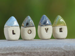 A set of tiny rustic ceramic miniature LOVE houses in colors of your choice - Ceramics By Orly  - 7