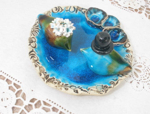 Birds bath Wedding cake topper Love birds in aqua birds bath - Ceramics By Orly  - 1
