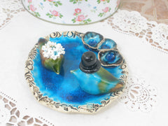 Birds bath Wedding cake topper Love birds in aqua birds bath - Ceramics By Orly  - 2