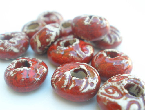 Red ceramic beads - Ceramics By Orly  - 1