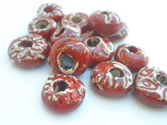 Red ceramic beads - Ceramics By Orly  - 2