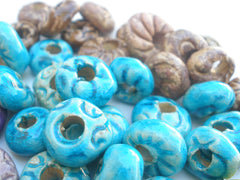 Turquoise and brown ceramic beads - Ceramics By Orly  - 4