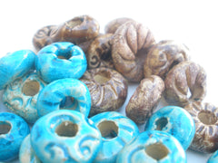 Turquoise and brown ceramic beads - Ceramics By Orly  - 3